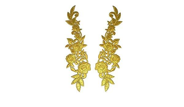 Parche de flores doradas para coser o planchar con el símbolo de la insignia bordada: Amazon.es: Hogar
