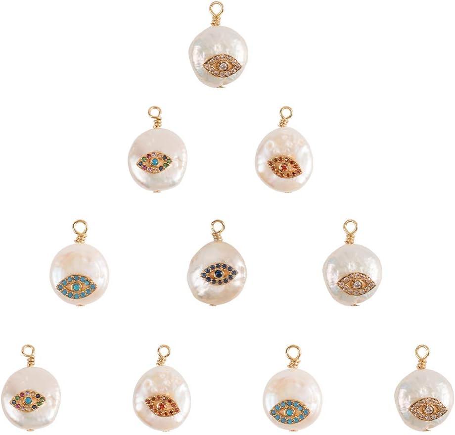 NBEADS Colgantes de Perlas de Mal de Ojo, 10 Piezas de Cuentas de Perlas Redondas Planas Naturales Cubic Zirconia Evil Eye Colgante Charms para Hacer Joyas de Bricolaje, 17x12mm