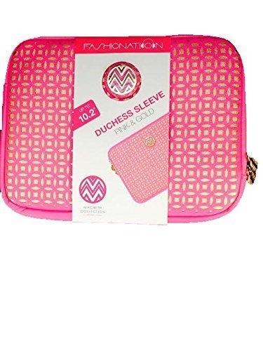 """Macbeth Collection Fashionation Elegant Pink and Gold Duchess Laptop Sleeve - Fits up to 10.2"""""""
