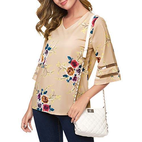 OVYNSZ Women's Loose V Neck Mesh Panel Chiffon Blouse 3/4 Bell Sleeve Tops Shirt (Khaki Flower, - Shirt Sleeved Bell Top