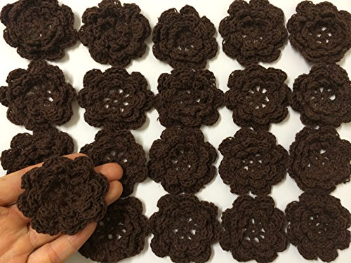 PEPPERLONELY Brand 20PC Dark Brown Eight Petals 2 Inch Crocheted Flower Appliques ()