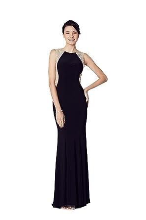 Tiffanys Illusion Prom Schwarze Mila Trikot Offener Rücken Kleid UK ...