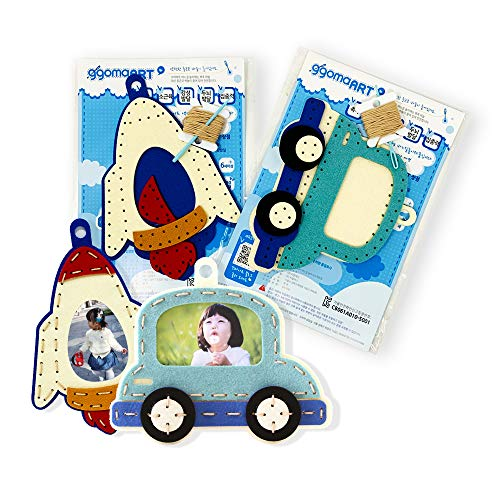 Boy Needlepoint - ggomaART Sewing Kit for Kids - Bundle Pack of DIY Art Craft Hand Stitch Play Set, Safety Needle Harmless Felt Cloth Button for Beginner Little Girl Boy - Rocket / Car Picture Frame