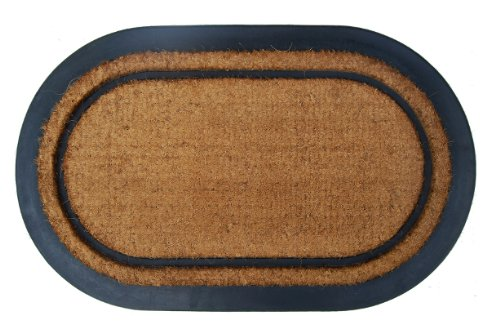22-Inch by 36-Inch Imports Decor Rubber Back Coir Doormat York Oval