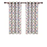 Deconovo Decorative Baby Room Darkening Dogs Print Grommet Top Window Blackout Panels Thermal Insulated Blackout Curtains for Living Room 52x63 Inch 2 Curtain Panels