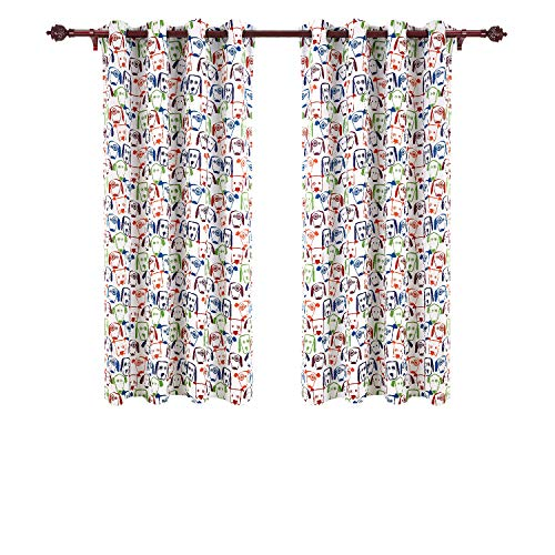 Deconovo Decorative Baby Room Darkening Dogs Print Grommet Top Window Blackout Panels Thermal Insulated Blackout Curtains for Living Room 52x63 Inch 2 Curtain Panels by Deconovo