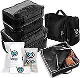 Travel Organizer Full Pack Set - Packing Cubes, Toiletry Bag, Shoes Bag, ZipBags (BLACK)
