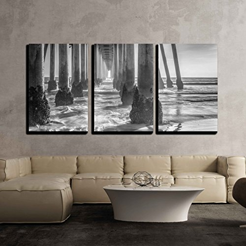 wall26 - 3 Piece Canvas Wall Art - A Black and White Shot Looking Out from Under The Huntington Beach Pier - Modern Home Decor Stretched and Framed Ready to ()