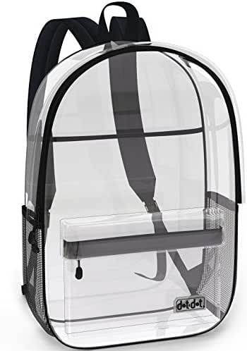 Super Heavy Duty Clear Backpack for School, Travel, Sports or any Outdoor Activity - Spacious, See Through Bookbag for Students - Large Transparent Bag with Many Pockets and Strong Zipper Closure