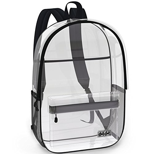 (Super Heavy Duty Clear Backpack for School, Travel, Sports or any Outdoor Activity - Spacious, See Through Bookbag for Students - Large Transparent Bag with Many Pockets and Strong Zipper Closure)