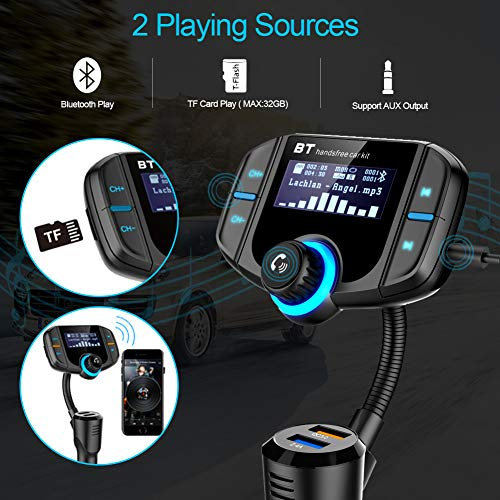 [Upgraded 2019] Bluetooth FM Transmitter for Car with QC 3.0, LUMAND Wireless Radio Adapter Hands Free Car Kit w/1.7 Inch Display and Dual USB Car Charger Support Power Off, AUX Output, TF Card Slot by LUMAND (Image #5)