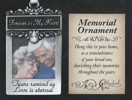 FOREVER in My Heart - PEWTER Photo Frame ORNAMENT - Memorial of Deceased LOVED ONES -