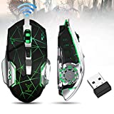 Rechargeable Wireless Gaming Mouse, Bluetooth USB Computer Mouse, 2.4G LED Color Changing Optical Silent, Auto Sleeping, Ergonomics Grip, 4 Adjustable DPI, Compatible with Laptop/PC/Notebook (Black