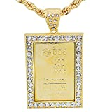 Yellow Gold-Tone Iced Out Hip Hop Bling UBS 999 Bar Dog Tag Rectangle Pendant with 30'' Solid Rope Necklace Chain