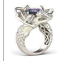A.Yupha Handmade Mermaid Style Women 8mm AAA Cz White Gold Filled Wedding Band Ring Gift#Rainbow (10)