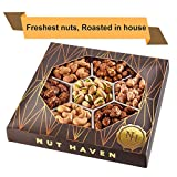Holiday Nuts Gift Basket | Fresh Sweet & Salty Dry Roasted Gourmet Nuts | Fantastic Gift for Birthday, Sympathy, Holiday, Men & Women | Variety of 7 Sweet & Salty Nuts Tray | Prime Delivery