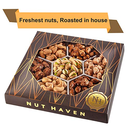 Holiday Nuts Gift Basket | Fresh Sweet & Salty Dry Roasted Gourmet Nuts | Fantastic Gift for Birthday, Sympathy, Holiday, Men & Women | Variety of 7 Sweet & Salty Nuts Tray | Prime Delivery (Nut Gift Baskets For Men)