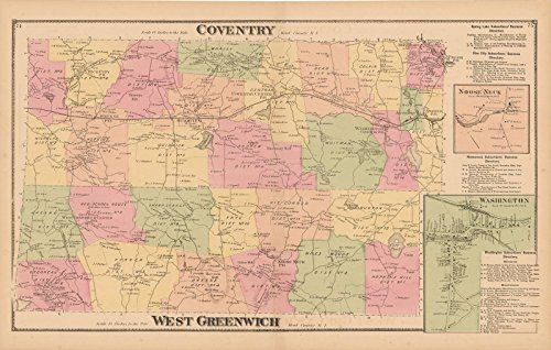 (Historic Pictoric Map | Atlas State of Rhode Island, Coventry & West Greenwich 1870 | Vintage Poster Art Reproduction | 24in x)