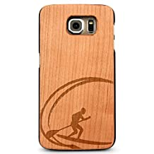 Laser Engraved Wood Case for Galaxy S6 Edge - Paddle Board Surf Ocean Wave (Cherry Case)