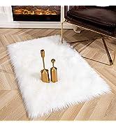 Ompaa Ultra Soft Faux Fur Rugs, Fluffy Sheepskin Area Rug for Bedroom Bedside Living Room Sofa De...