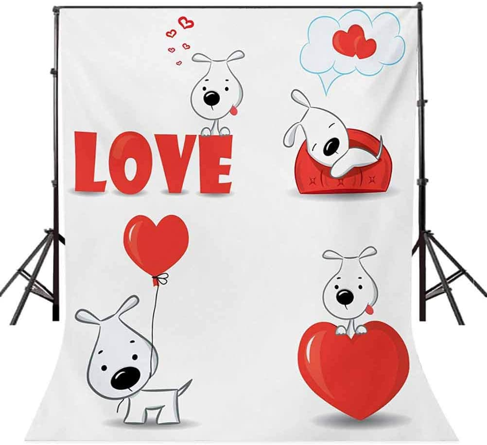 8x10 FT Photo Backdrops,Funny Dogs with Heart Symbols My Pet Best Friends Companions Ever House Animal Theme Background for Kid Baby Boy Girl Artistic Portrait Photo Shoot Studio Props Video Drape