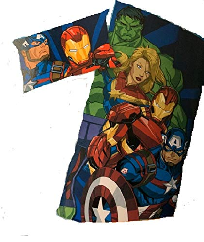 Jay Franco & Sons Marvel Iron Man, Hulk, Captain Marvel, Captain America 2 Piece Sleepover Set Includes Pillow & Slumber Bag