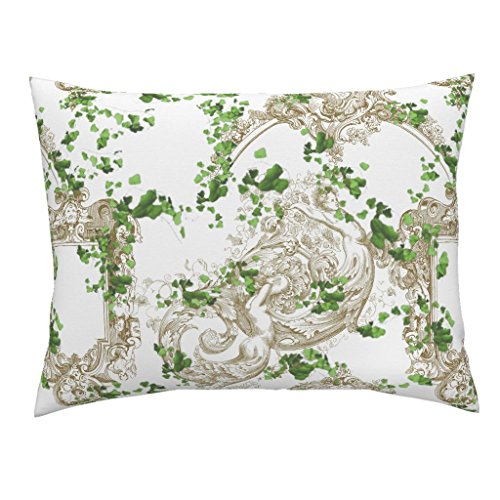 Roostery Vine Antique Ornate Baroque Ivy Italian Standard Knife Edge Pillow Sham Portofino ~ The Ruins by Peacoquettedesigns 100% Cotton Sateen