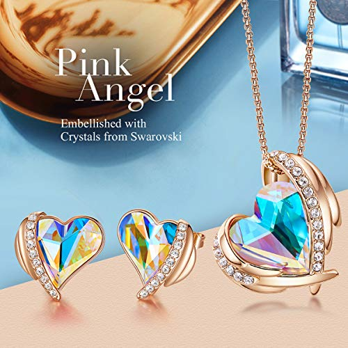 CDE Love Heart Necklaces and Earrings Jewelry Set for Women Rhodium Plated/Rose Gold Tone Crystals Birthstone Gifts for… 2