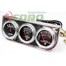 """TRIPLE 2"""" RACING AUTO GAUGES SET AMP METER, WATER PRESSURE, & OIL PRESSURE GUAGE"""