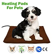Pet Heating Pad,Fochea Dog Cat Electric Heating Pad Waterproof Adjustable Warming Mat with Chew Resistant Steel Cord Soft Removable Cover Overheat Protection