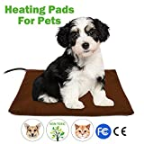 Pet Heating Pad - Fochea Dog Cat Electric Heating Pad Waterproof Adjustable Warming Mat with Chew Resistant Steel Cord Soft Removable Cover Overheat Protection