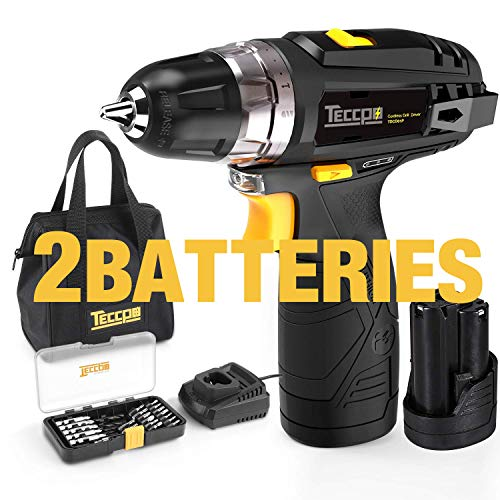 "Cordless Drill, TECCPO 12V MAX Drill, Compact Drill set with 2Pcs 2000mAh Batteries, 2-Speed, 20+1 Torque Setting, Fast Charger, 265In-lbs Torque, 3/8"" Chuck, 29pcs Accessories - TDCD01P"