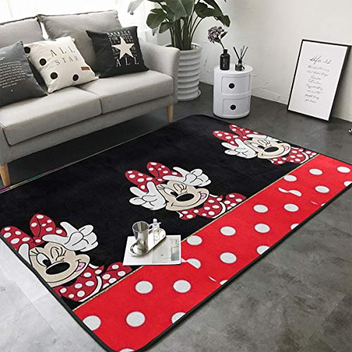 (Xzcxyadd Super Soft Indoor & Outdoor Modern Minnie Mouse with Victory Sign Area Rugs,Suitable for Children Bedroom Home Decor Nursery Rugs- 80 X 58 in)