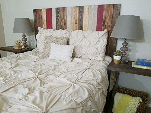 Panel Bed Floating (Fall Mix Design - Twin Hanger Headboard with Vertical Boards. Mounts on Wall.)