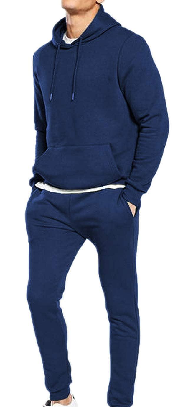 Ciabal/ù Tuta da Ginnastica Uomo Cotone Felpato Blu Nera Completa Pantaloni e Maglia con Cappuccio per Fitness Palestra Allenamento Jogging