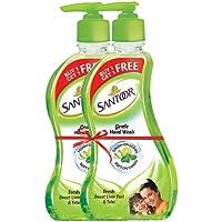 Santoor Gentle Hand Wash - 215 ml (Fresh Sweet Lime Peel and Tulsi, Buy 1 Get 1 Free)