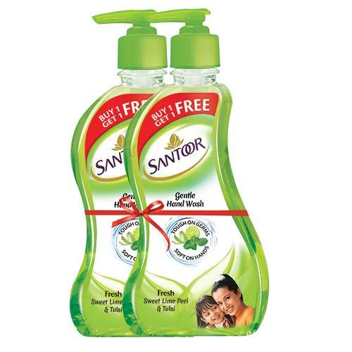 Combo Loot | Santoor Gentle Hand Wash - 215 ml (Fresh Sweet Lime Peel and Tulsi, Buy 1 Get 1 Free)