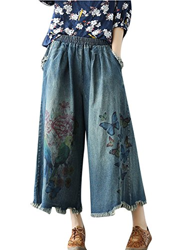 Yesno P85 Women Cropped Denim Pants Jeans Trousers 100% Cotton Embroidered Casual Loose Low Crotch Ripped Poled Harem (Cropped Casual Trousers)