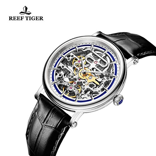 Reef Tiger Business Vintage Watches for Men Ultra thin Skeleton Dial Calfskin Leather Strap Watch RGA1917 by REEF TIGER (Image #2)