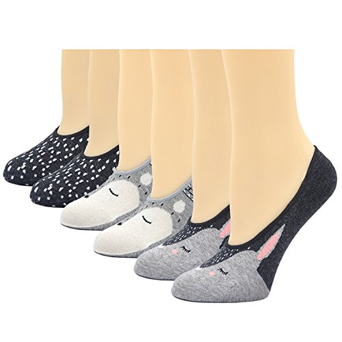 Womens No Show Cute Fox Funny Funky Trainer Animal Cartoon Hidden Invisible Socks