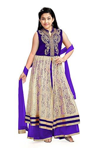 Aarika Girl's Self Design Kashibai Special Kurta Palazzo and Dupatta Set (1026-BLUE_28_7-8 Years) by Aarika