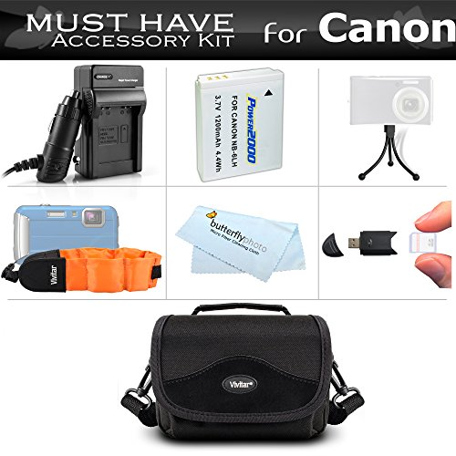Essential Accessory Kit For Canon PowerShot D10 D20 D30 Waterproof Digital Camera Includes Extended (1200Mah) Replacement NB-6L Battery + Ac/Dc Travel Charger + Float Strap + Case + Mini Tripod + More