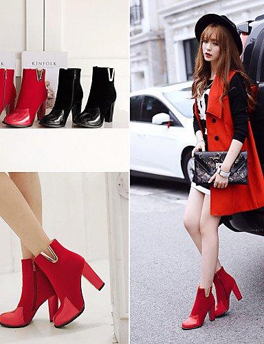 Eu35 Robusto Puntiagudos 5 Botas Negro Zapatos Black Red 5 us10 Uk3 Xzz De Uk8 Eu42 us5 Rojo Cn43 Mujer Tacón Moda Cn34 Cuero Vellón Casual A La Patentado 4nIwX