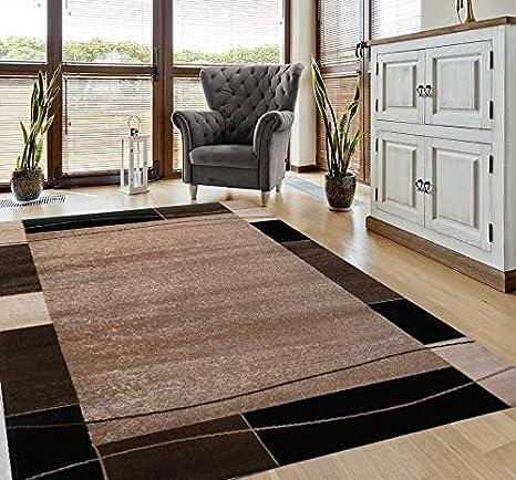 Teppich Kariert Retro Muster Meliert in Braun Schlafzimmer Wohnzimmer  160x230 cm