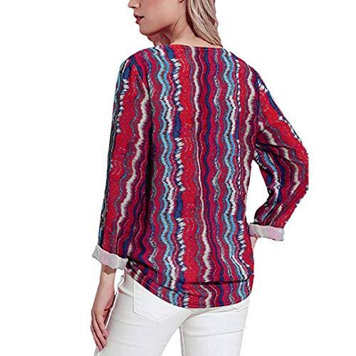 Blouse Shirt Chic Turndown T Mode Imprimer Chemisier Collar Femmes Rouge Rouge Manches Femme Automne Tops Longues Shirt T wCx1qgO