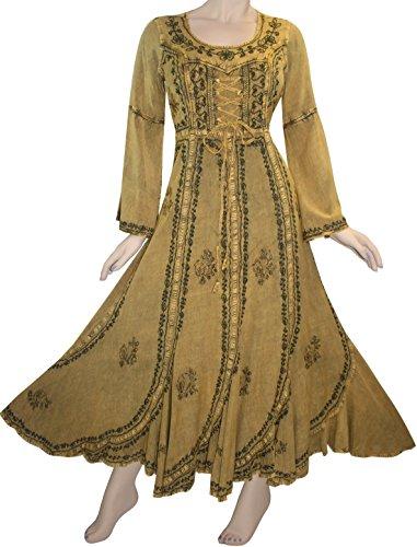 205 DR Medieval Peasant Bell Sleeve Scalloped Dress [Sand 2; (Rennaisance Dress)