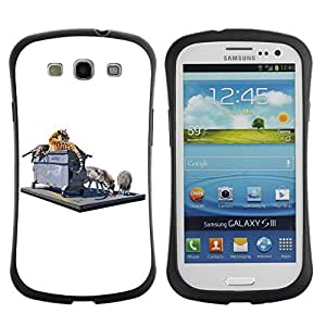 Hybrid Anti-Shock Bumper Case for Samsung Galaxy S3 / Tiger & Wolf On The Street