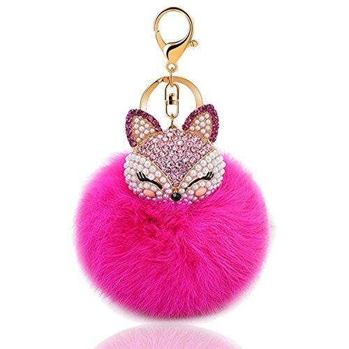 Cute Fox Fur Pom Pom Keychain Bag Purse Charm Key Ring (Red)