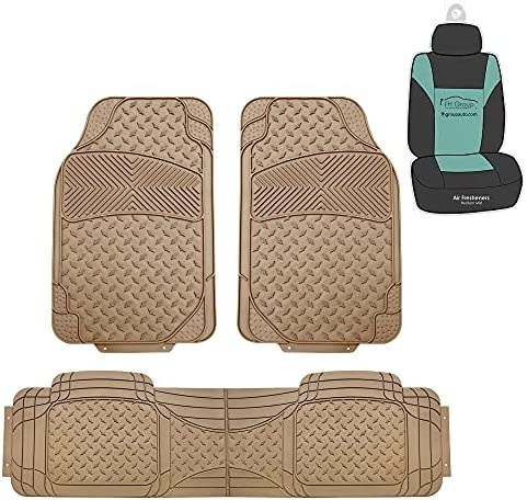 FH Group F11307 Semi-Custom Liners Trimmable Vinyl Floor Mats Full Set (Solid Beige)- Universal Fit for Cars Trucks and SUVs (Beige)