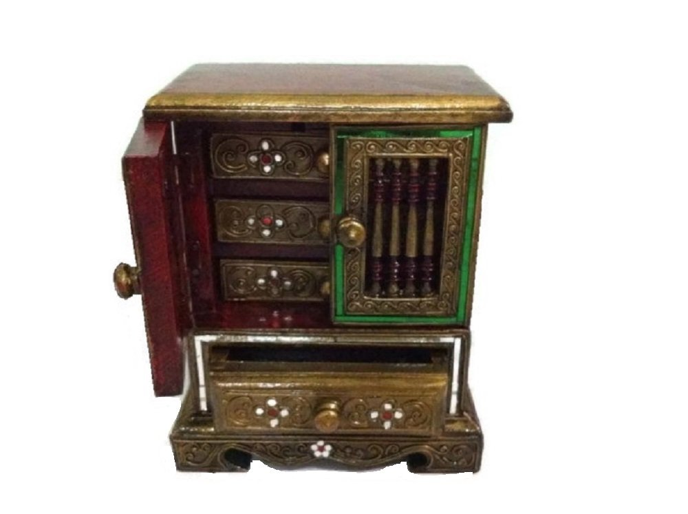 Golden Jackfriut Wood - Jewelry Cabinet with 3 Drawers by Thai Handmade